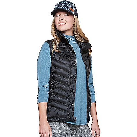 Toad & Co Women's Airvoyant Puff Vest Black Toad & Co Women's Airvoyant Puff Vest - Black - in stock now. FEATURES of the Toad & Co Women's Airvoyant Puff Vest Bluesign approved fabric DWR water repellent finish Lightweight Quick front snap closure Zipper hand pockets Bungee cord adjustable hem