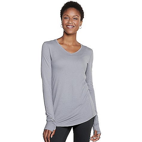 Toad & Co Women's Aria Vee LS Top Smoke Toad & Co Women's Aria Vee LS Top - Smoke - in stock now. FEATURES of the Toad & Co Women's Aria Vee Long Sleeve Top Lightweight Quick neckline Thumbholes Quick chafe forward shoulder seams Quick tail hem Flatlock stitching