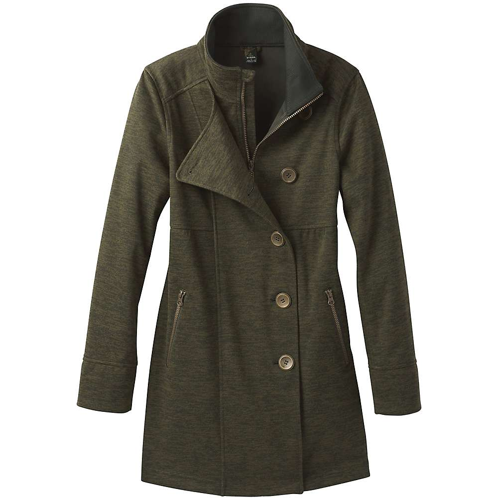 Prana Women's Martina Long Heathered Jacket - XL - Dark Olive