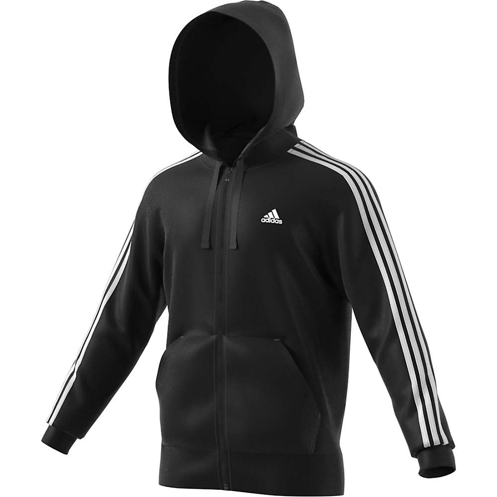 Adidas Men's Essential 3S Full Zip B Hoodie - Small - Black / White