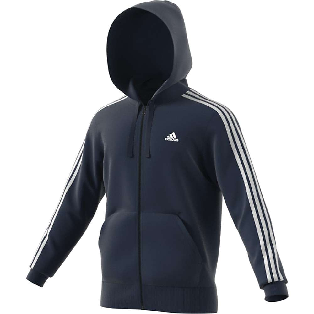 Adidas Men's Essential 3S Full Zip B Hoodie - Large - Col. Navy / White