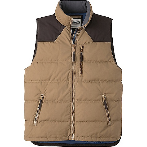 Mountain Khakis Men's Outlaw Down Vest Tobacco Mountain Khakis Men's Outlaw Down Vest - Tobacco - in stock now. FEATURES of the Mountain Khakis Men's Outlaw Down Vest 4 Pockets Split tall side hem with reinforced bar-tacklng MK embroidery at back right shoulder