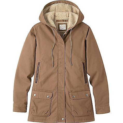 Mountain Khakis Women's Ranch Shearling Hooded Jacket Tobacco Mountain Khakis Women's Ranch Shearling Hooded Jacket - Tobacco - in stock now. FEATURES of the Mountain Khakis Women's Ranch Shearling Hooded Jacket Exterior storm flap 7 Pockels MK embroidery at back right shoulder Falls to mid thigh