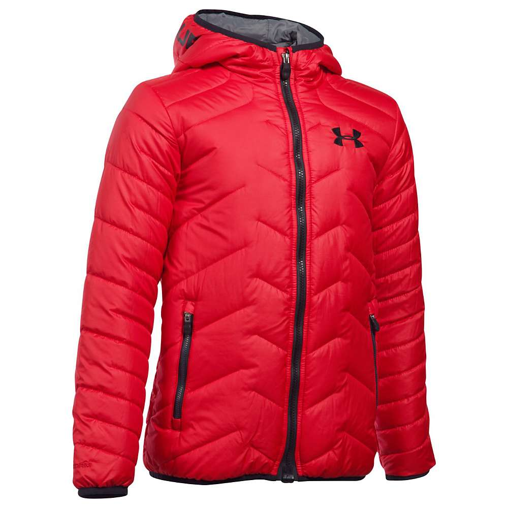 Under Armour Boys' UA ColdGear Reactor Hooded Jacket - Small - Red / Black / Black