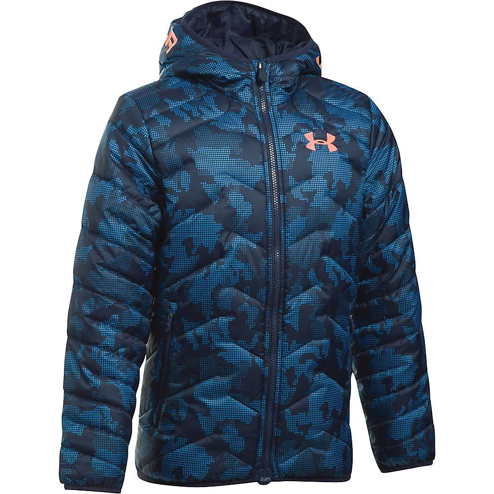 Under Armour Boys' UA ColdGear Reactor Hooded Jacket - Medium - Midnight Navy / Midnight Navy / Magma Orange