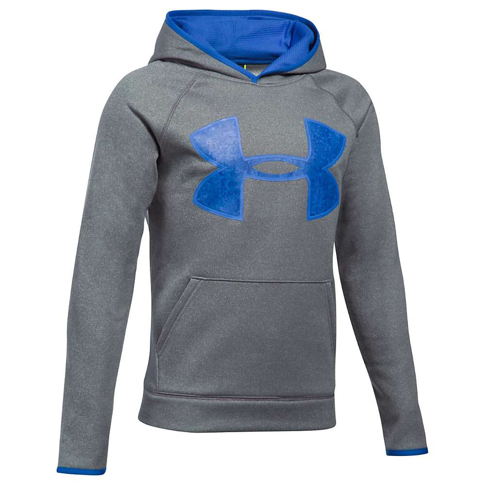 Under Armour Boys' UA Armour Fleece Big Logo Hoodie - Large - Graphite / Ultra Blue / Ultra Blue