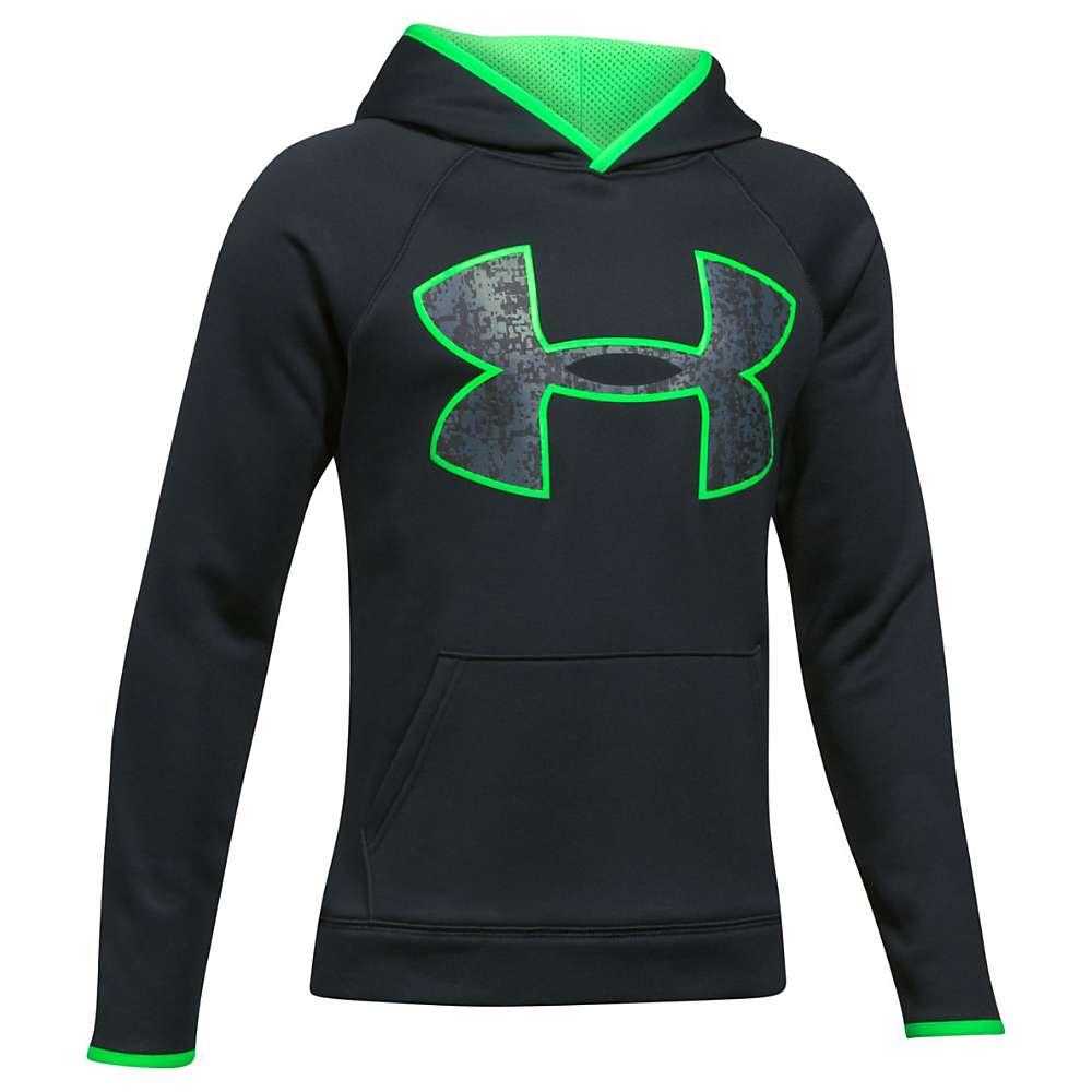 Under Armour Boys' UA Armour Fleece Big Logo Hoodie - Medium - Black / Lime Twist / Black