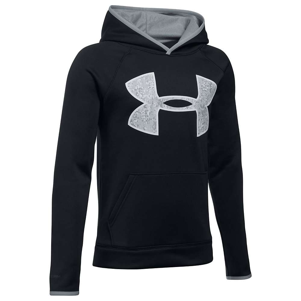 Under Armour Boys' UA Armour Fleece Big Logo Hoodie - Small - Black / Steel / Overcast Grey
