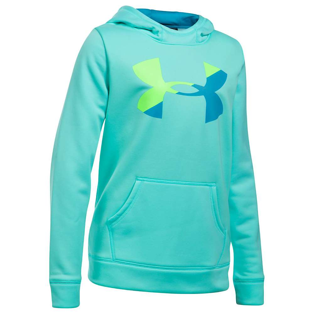 Under Armour Girls' UA Armour Fleece Big Logo Hoody - Small - Blue Infinity / Quirky Lime / Blue Shift