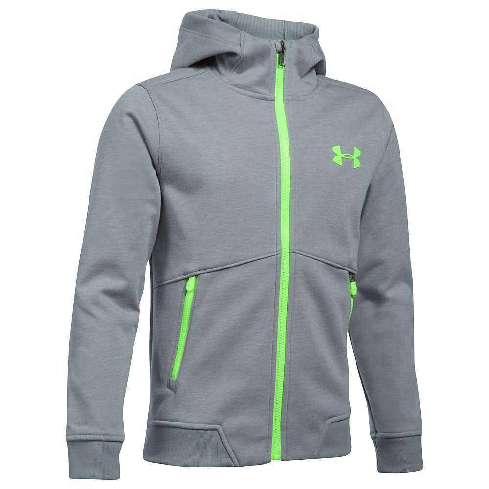Under Armour Boys' UA ColdGear Infrared Dobson Softshell Jacket - Large - Steel / Quirky Lime / Quirky Lime
