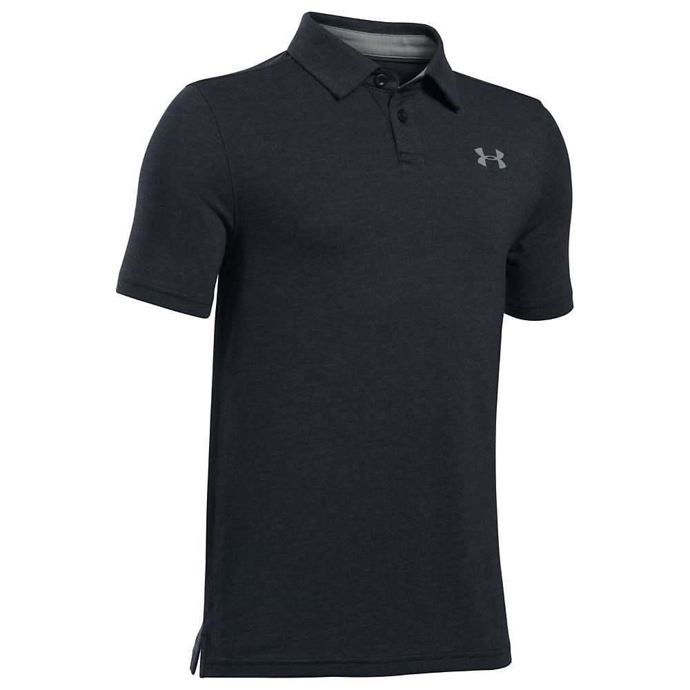 Under Armour Boys' UA Charged Cotton Heather Polo - XL - Black / True Grey Heather / Steel