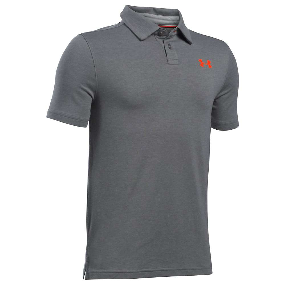 Under Armour Boys' UA Charged Cotton Heather Polo - Small - Graphite / True Grey Heather / Steel