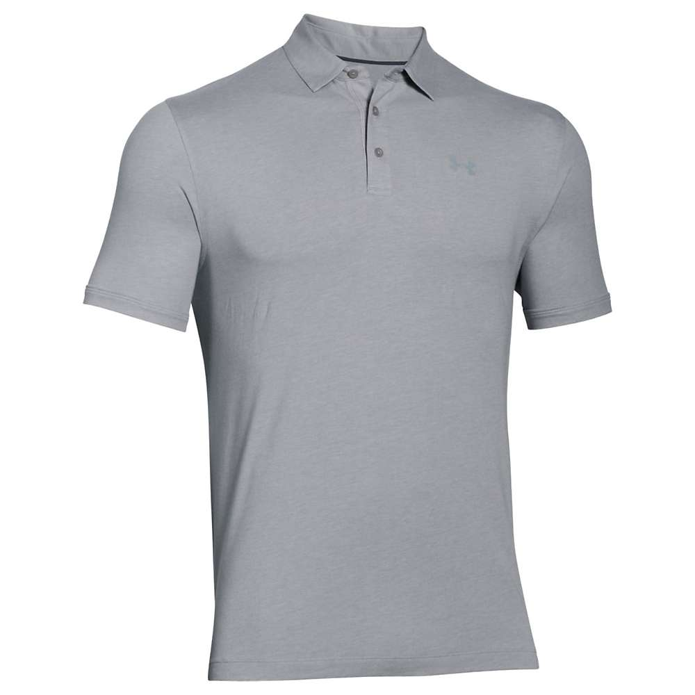 Under Armour Men's UA Charged Cotton Scramble Polo - XL - True Grey Heather / Steel