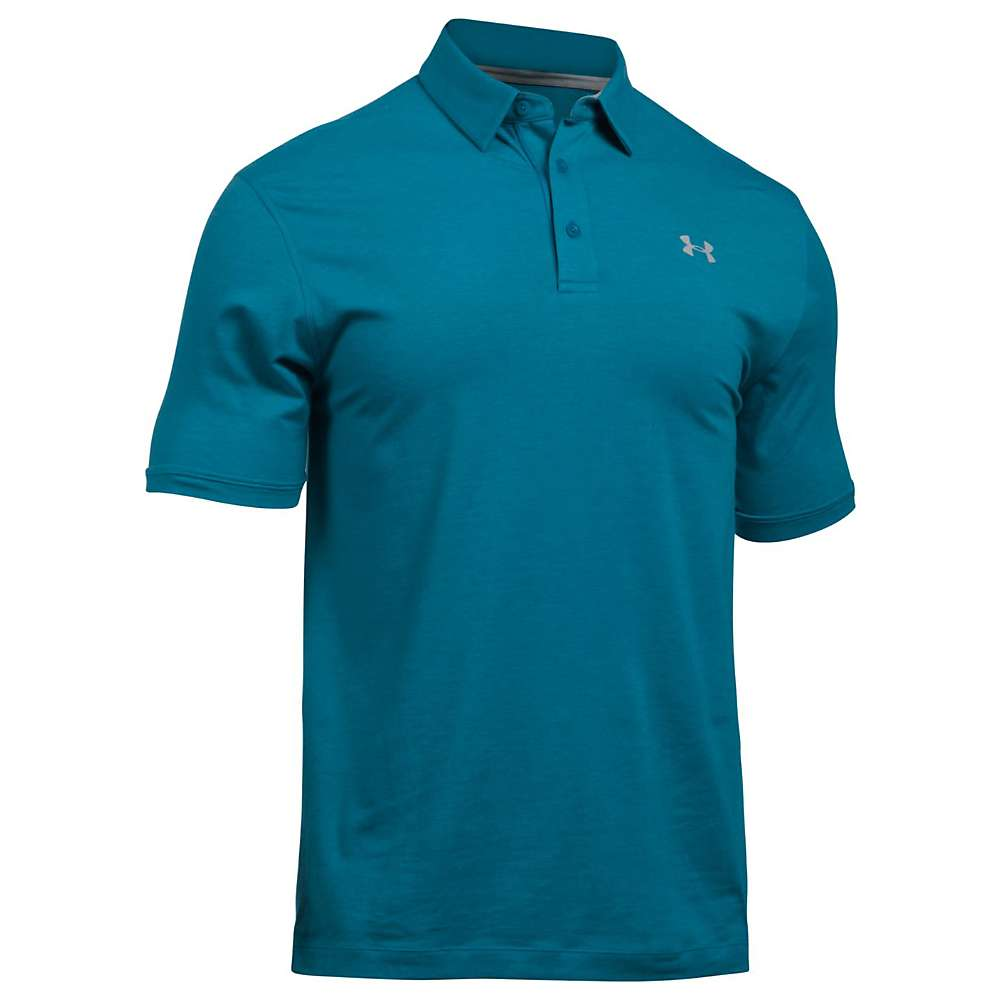 Under Armour Men's UA Charged Cotton Scramble Polo - XXL - Bayou Blue / True Grey Heather / Overcast Grey
