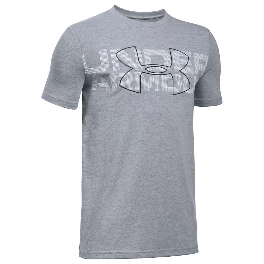 Under Armour Boys' Duo Armour SS Tee - XL - Steel Light Heather / White / Black
