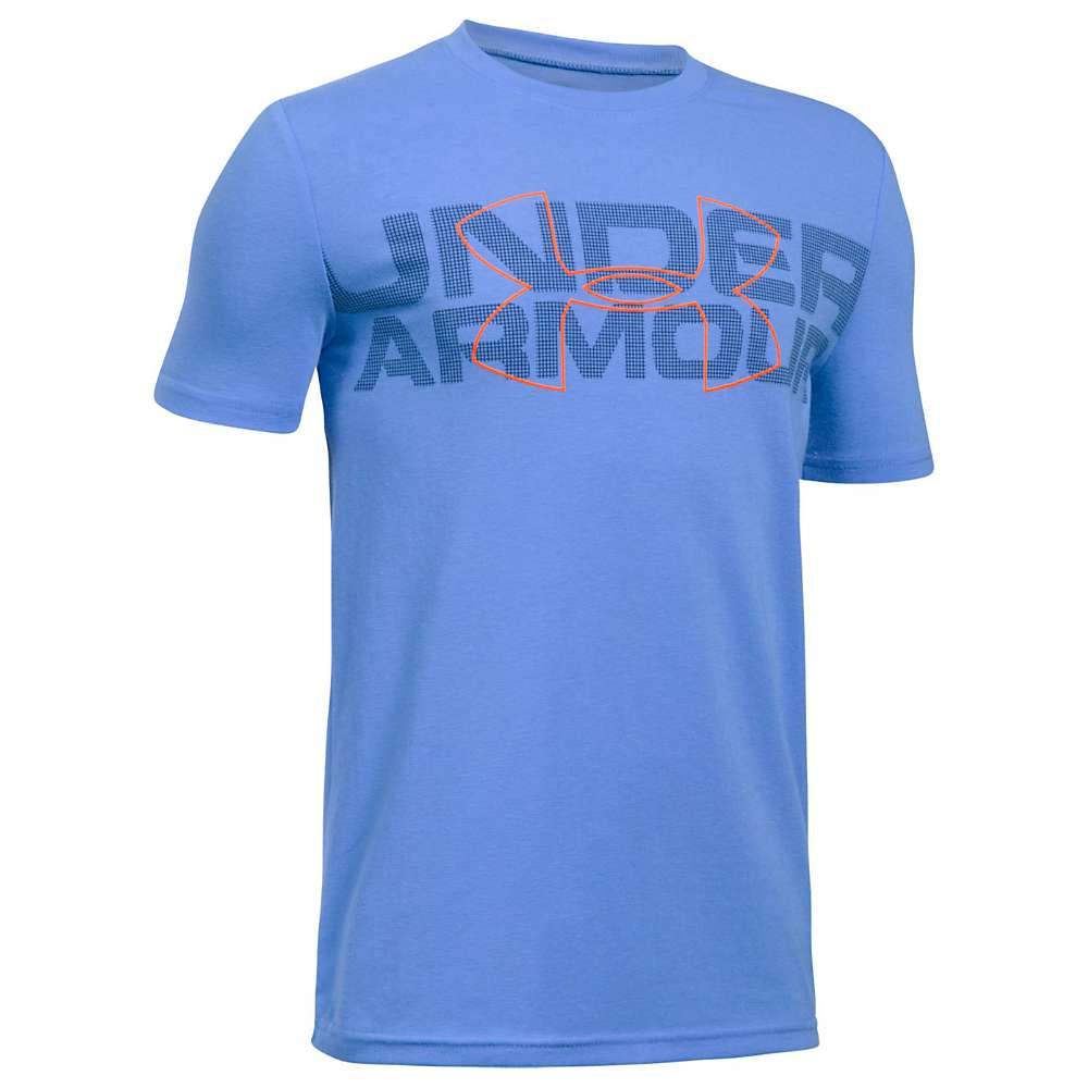 Under Armour Boys' Duo Armour SS Tee - Small - Water / Midnight Navy / Magma Orange