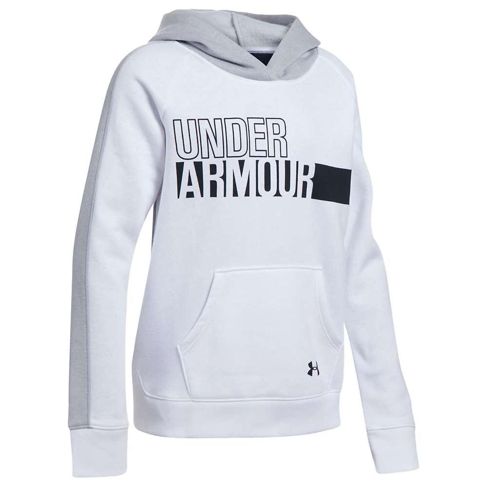 Under Armour Girls' UA Favorite Fleece Hoody - Small - White / Overcast Grey / Black