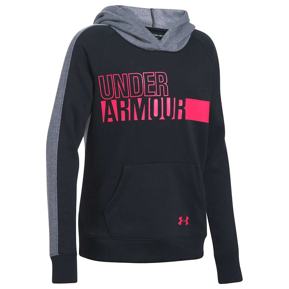 Under Armour Girls' UA Favorite Fleece Hoody - Large - Black / Black / Penta Pink