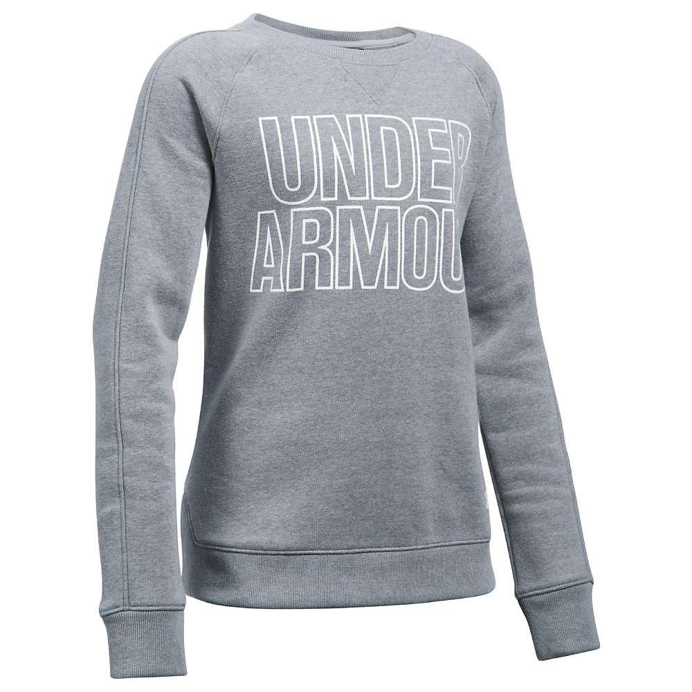 Under Armour Girls' UA Favorite Fleece Crew Neck Top - Large - Steel Light Heather / White
