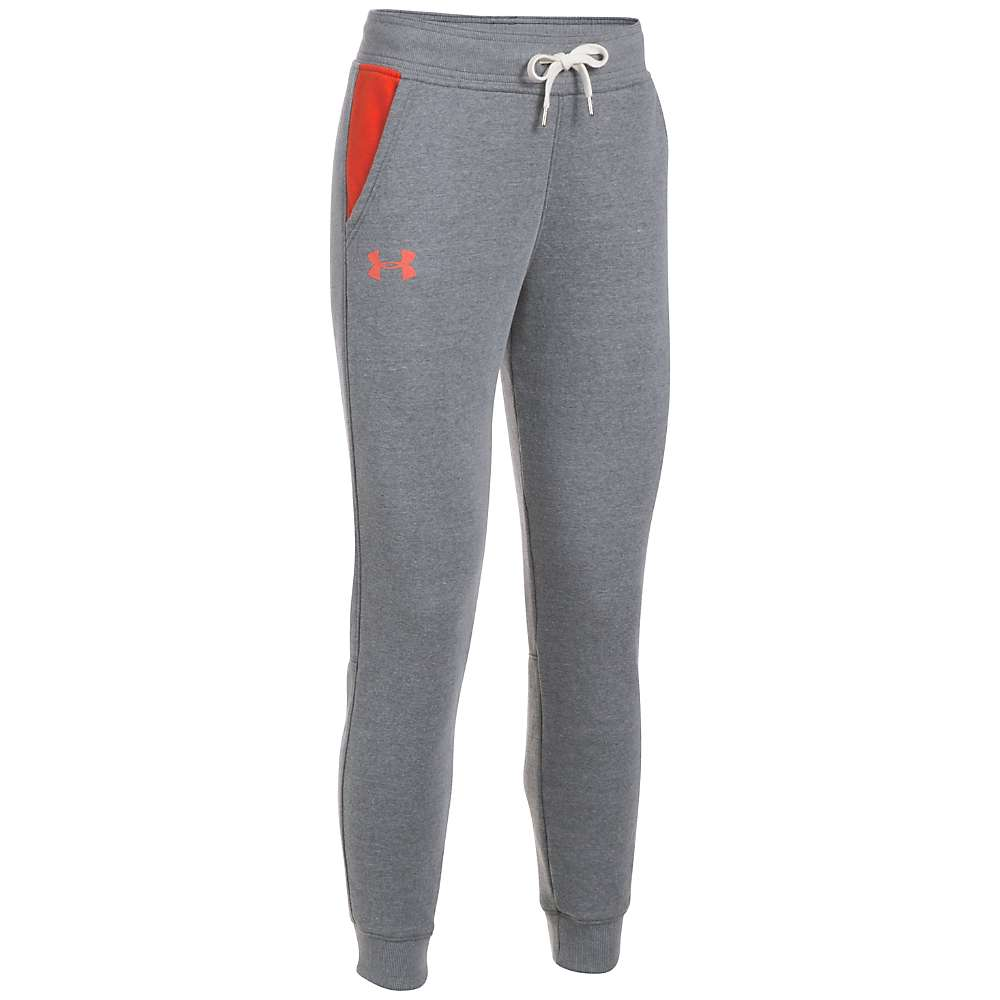 Under Armour Women's UA Favorite Fleece Pant - Large - Carbon Heather / Marathon Red / Marathon Red