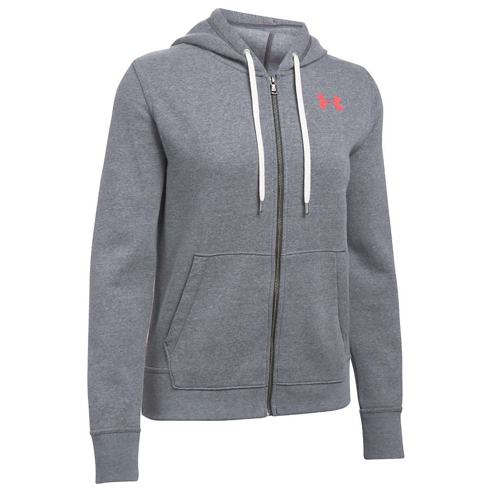 Under Armour Women's UA Favorite Fleece FZ Hoodie - Medium - Carbon Heather / Marathon Red / Charcoal