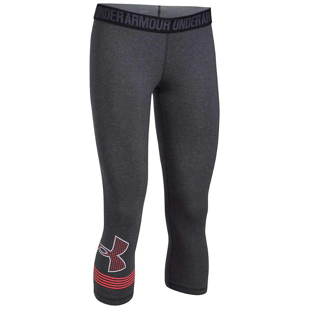 Under Armour Women's UA Favorite Graphic Capri - Small - Carbon Heather / Marathon Red / White