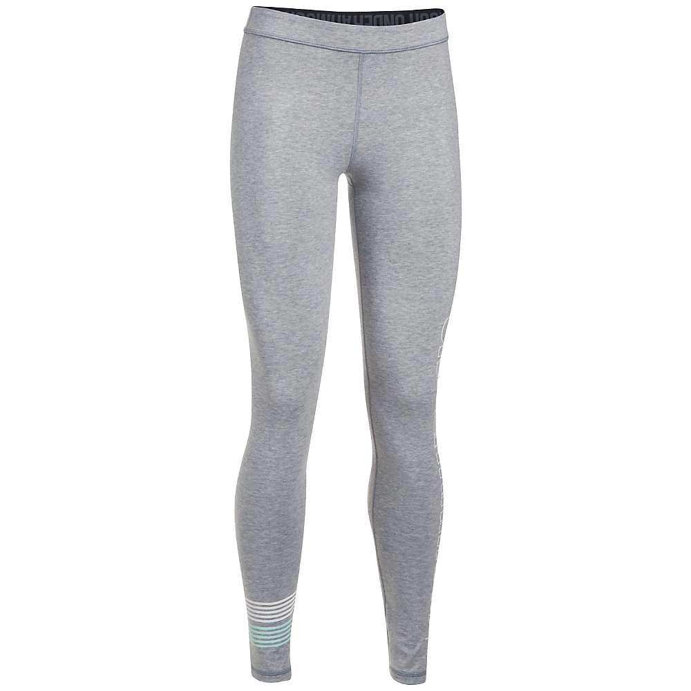Under Armour Women's UA Favorite Graphic Legging - Large - True Grey Heather / White / Blue Infinity