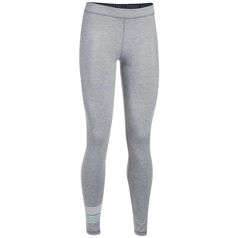 Under Armour Women's UA Favorite Graphic Legging - Medium - True Grey Heather / White / Blue Infinity