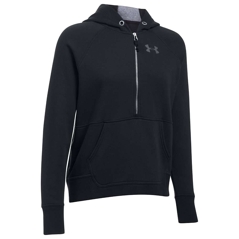 Under Armour Women's UA Favorite 1/2 Zip Fleece Hoodie - Large - Black / Graphite / Black