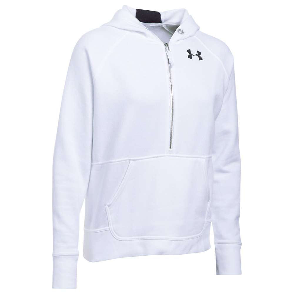 Under Armour Women's UA Favorite 1/2 Zip Fleece Hoodie - Large - White / Black / White
