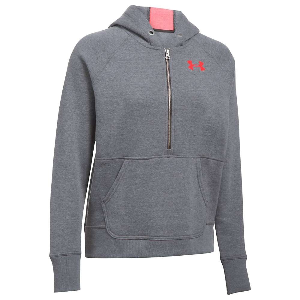 Under Armour Women's UA Favorite 1/2 Zip Fleece Hoodie - XXL - Carbon Heather / Marathon Red / Charcoal