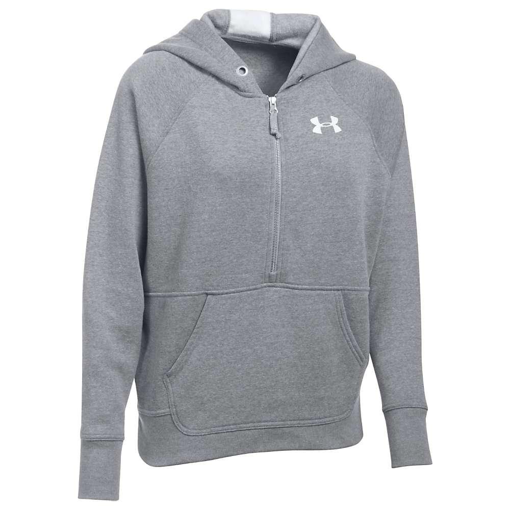 Under Armour Women's UA Favorite 1/2 Zip Fleece Hoodie - XS - True Grey Heather / White / Midnight Navy