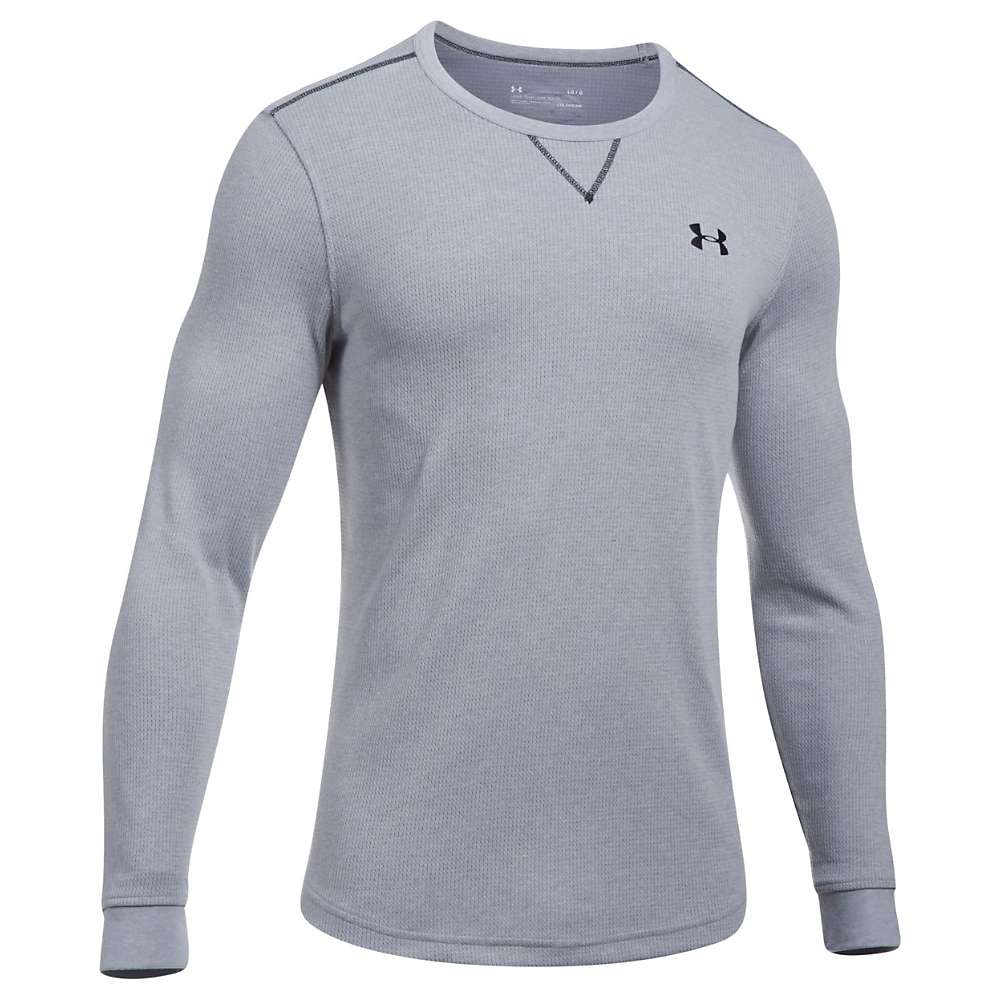 Under Armour Men's UA Lightweight Waffle Crew Neck Top - Medium - True Grey Heather / Black