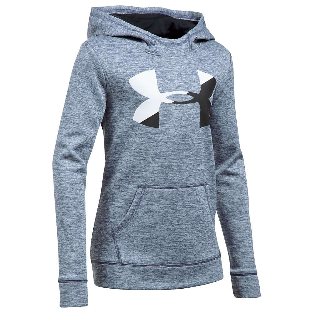 Under Armour Girls' UA Novelty AF Big Logo Hoody - Small - Apollo Grey / White / Black