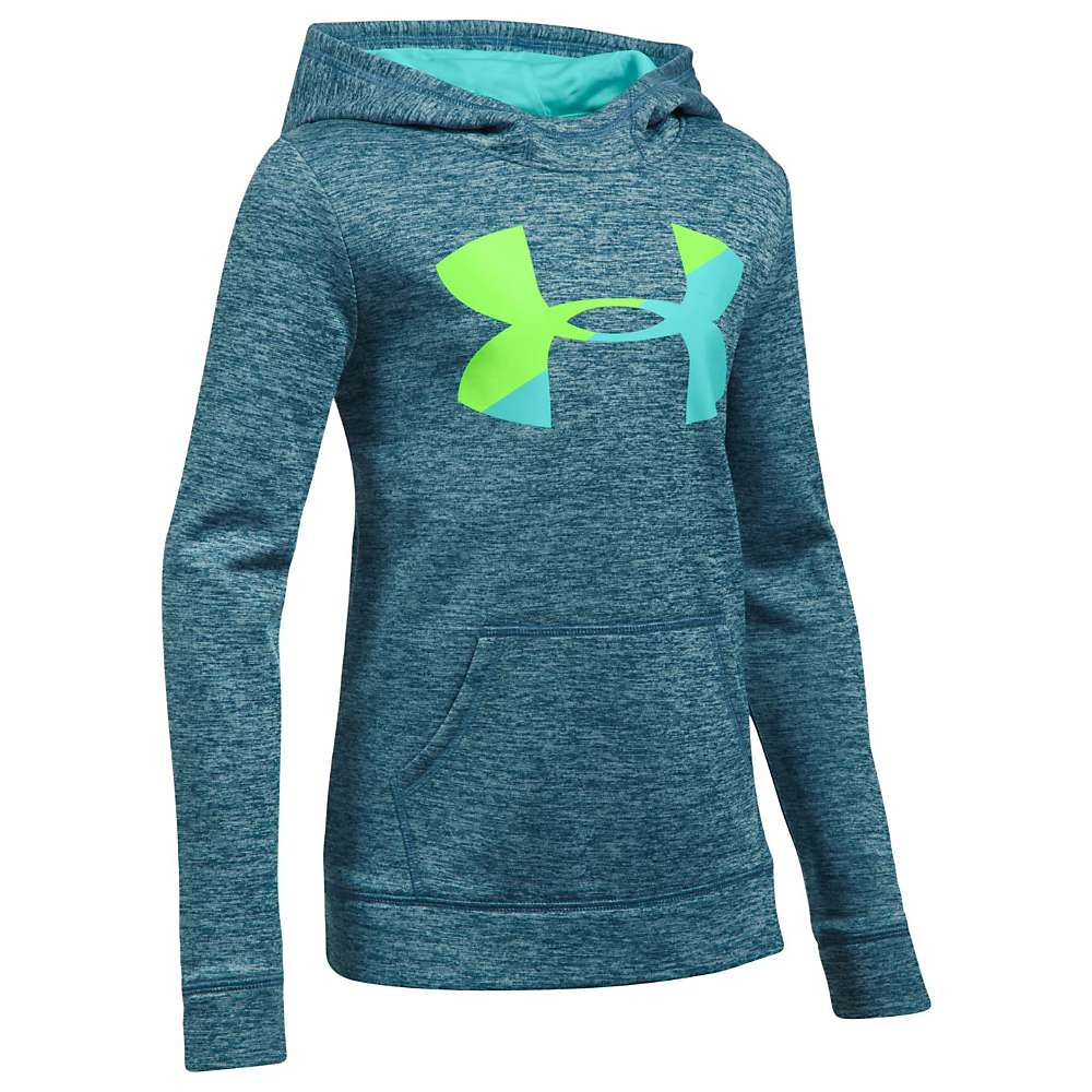 Under Armour Girls' UA Novelty AF Big Logo Hoody - Small - True Ink / Quirky Lime / Blue Infinity