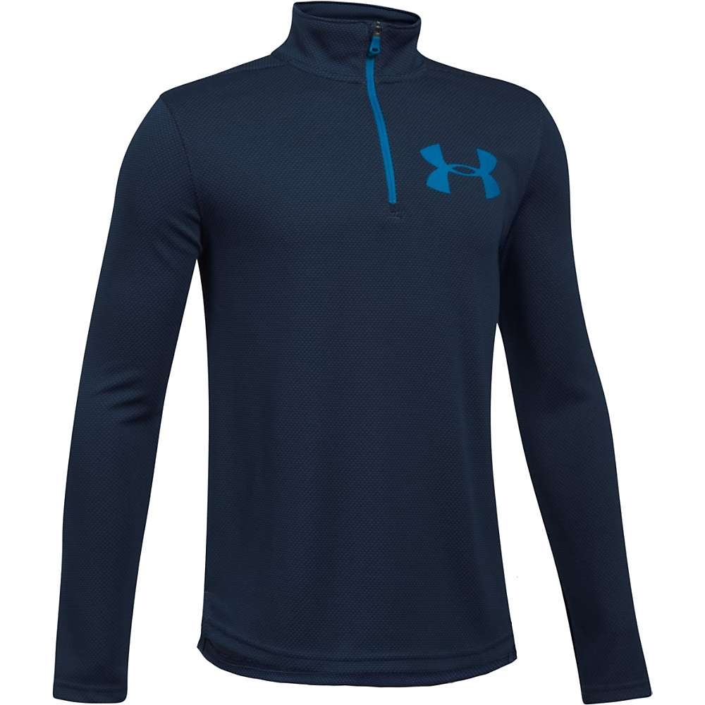 Under Armour Boys' UA Textured Tech 1/4 Zip Top - XS - Midnight Navy / Cruise Blue