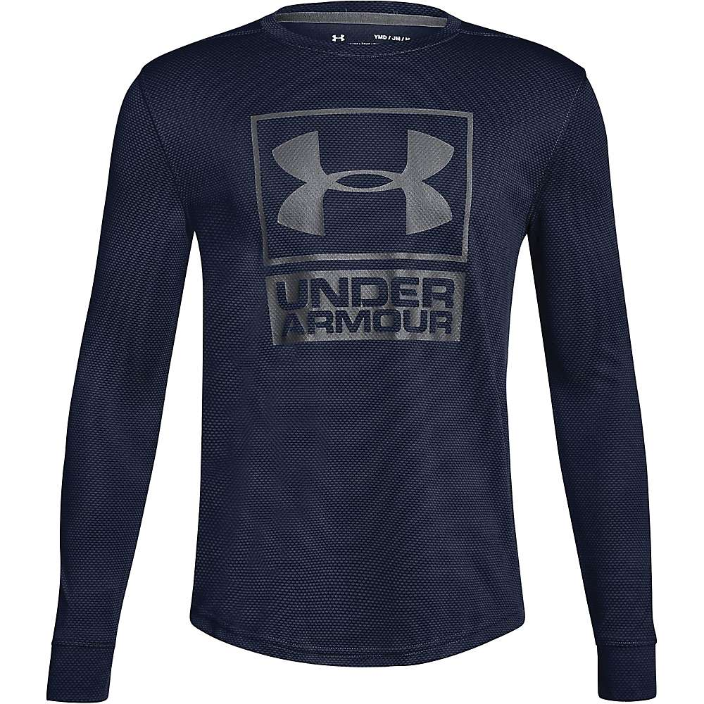 Under Armour Boys' UA Textured Tech Crew Neck Top - Small - Midnight Navy / Midnight Navy / Graphite