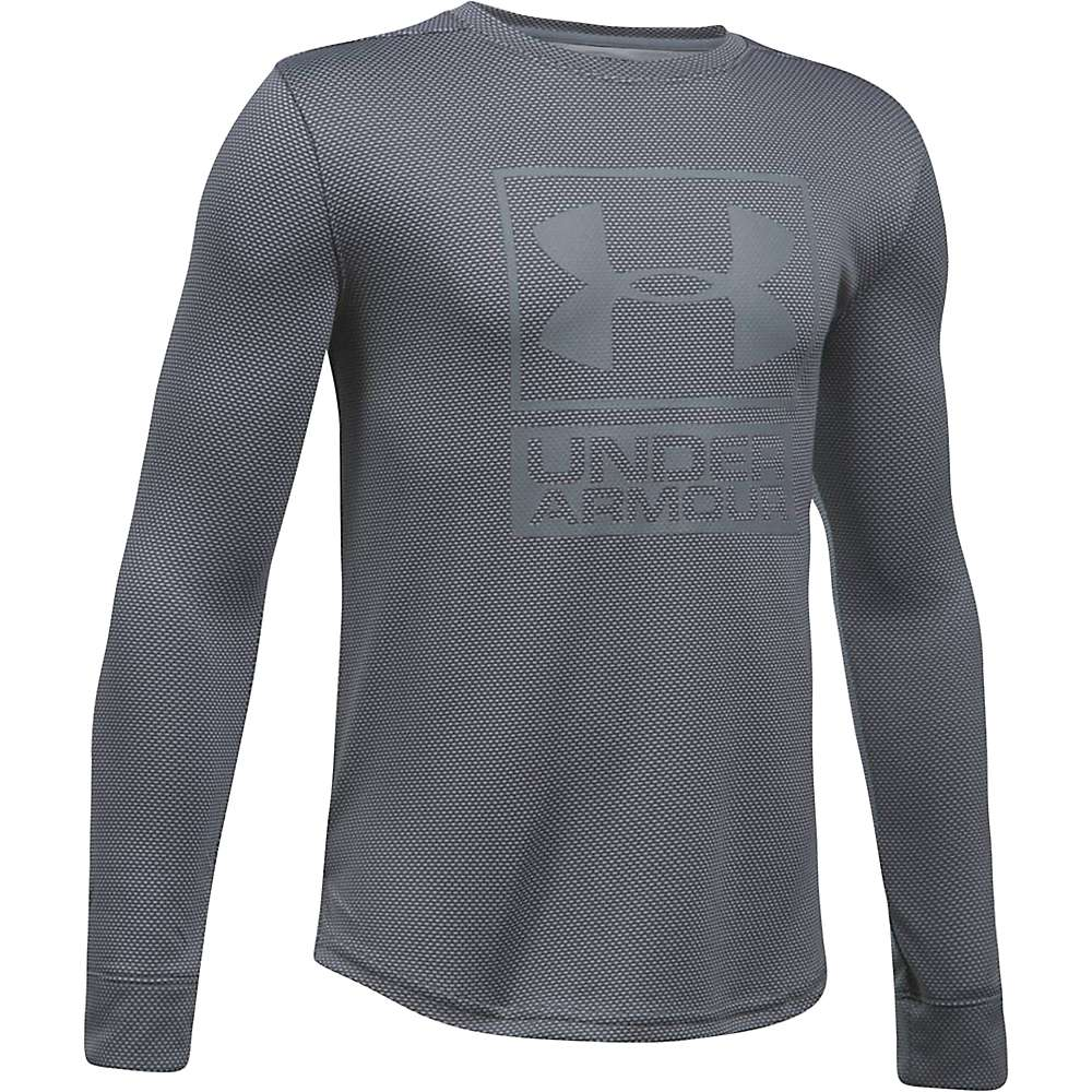 Under Armour Boys' UA Textured Tech Crew Neck Top - Large - Graphite / Graphite / Steel