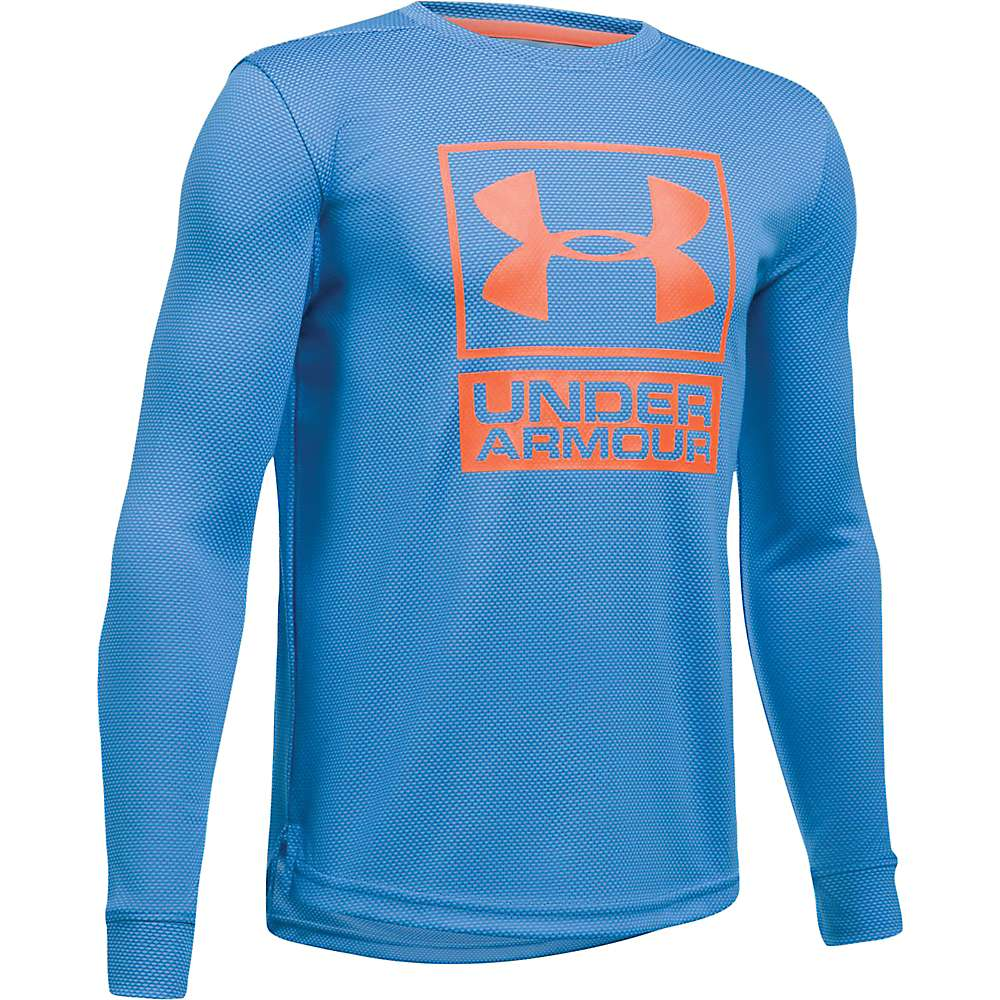 Under Armour Boys' UA Textured Tech Crew Neck Top - XL - Mako Blue / Mako Blue / Magma Orange