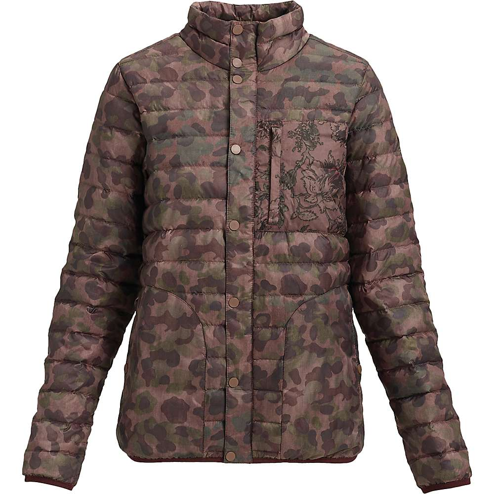 Burton Women's Aliz Evergreen Down Collar Insulator Jacket - Small - Moss Camo / Floral Camo thumbnail