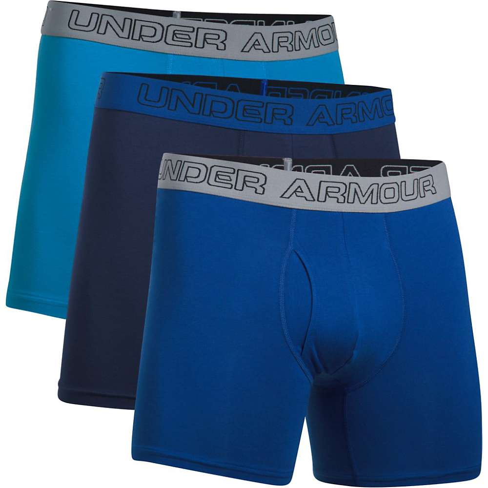 Under Armour Men's Charged Cotton Stretch 6IN Boxerjock - 3 Pack - Small - Brilliant Blue / Royal / Midnight Navy