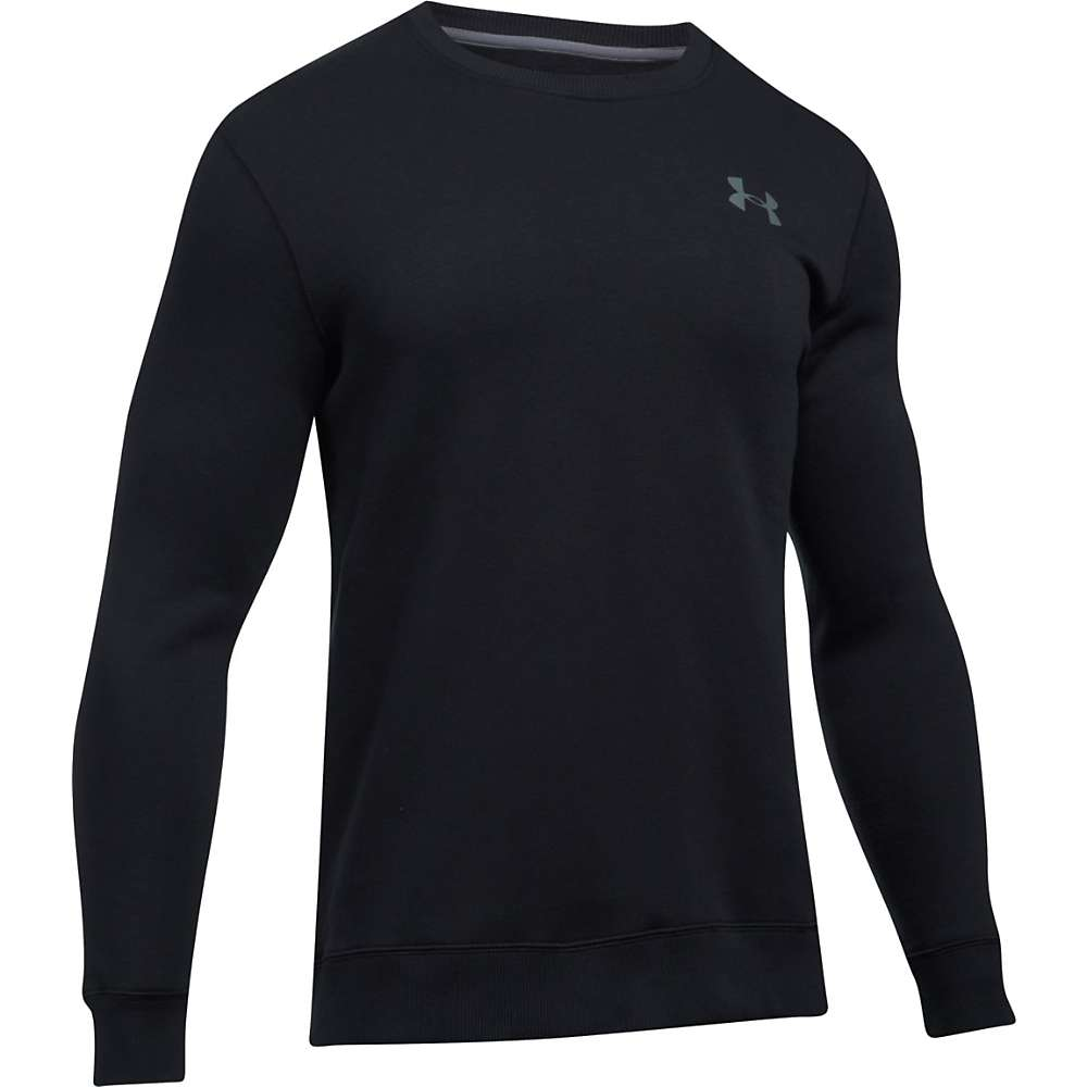 Under Armour Men's Rival Solid Fitted Crew Neck Sweatshirt - Large - Black / Graphite