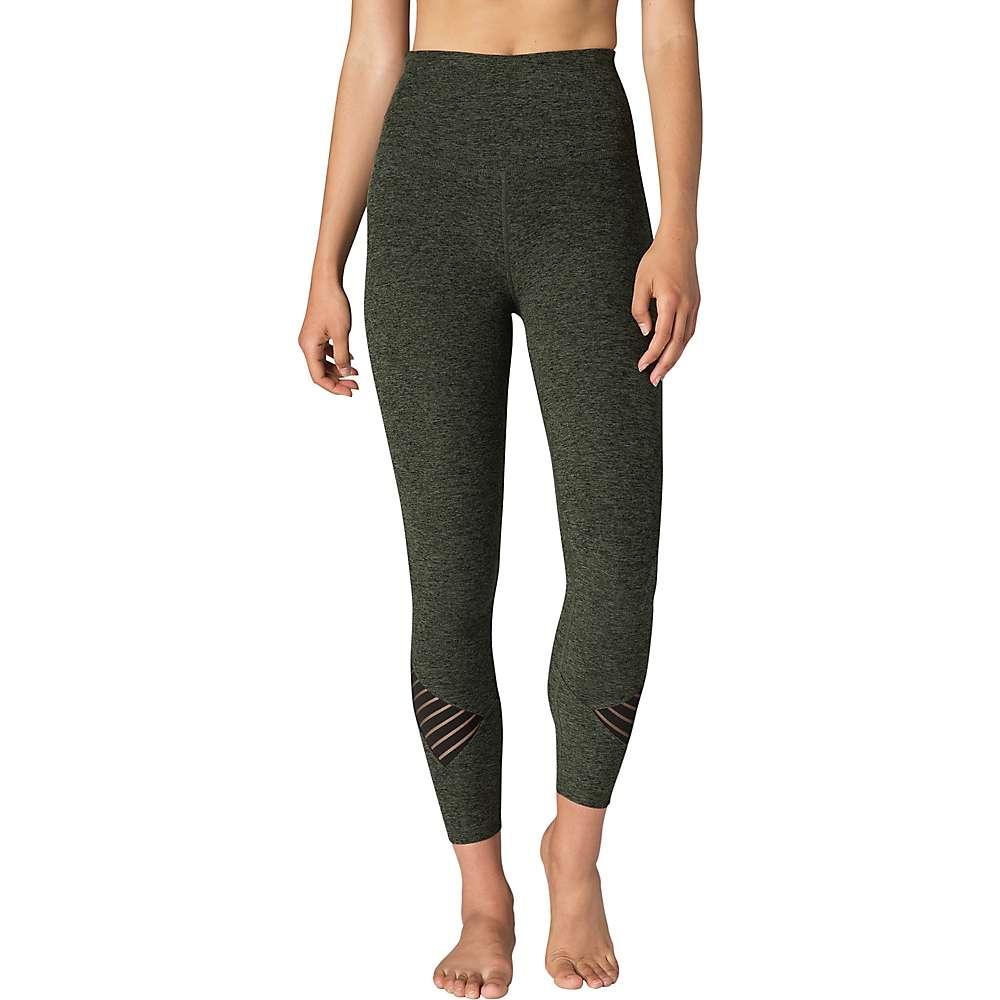 Beyond Yoga Women's Spacedye Stacked and Sliced High Waist Midi Leggin - Medium - Black / Aviator Green Spacedye