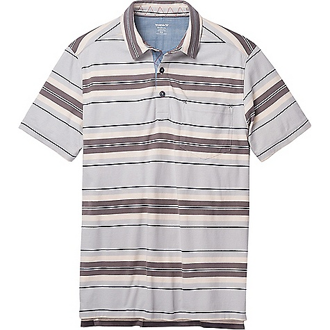 Toad & Co Men's Blackjack Polo Smoke Stripe Toad & Co Men's Blackjack Polo - Smoke Stripe - in stock now. FEATURES of the Toad & Co Men's Blackjack Polo Lighter weight Butterknit 3-button placket Chest patch pocket Droptail hem with side vents Collar stand and interior placket lined in chambray