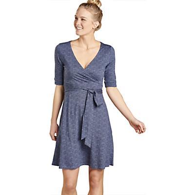 Toad & Co Cue Wrap CafT Dress - True Navy Herringbone Print - Women