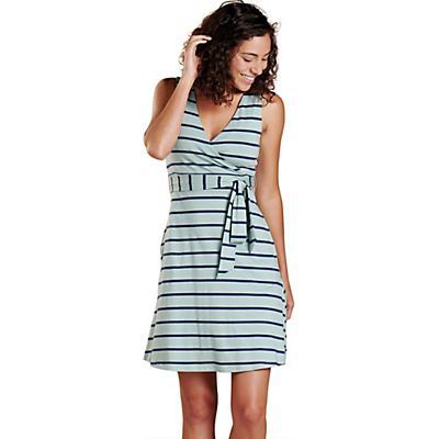 Toad & Co Cue Wrap SL Dress - Blue Surf Wide Stripe - Women