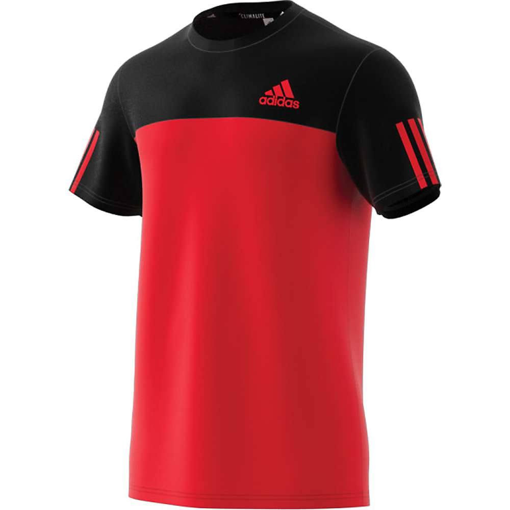 Adidas Men's CB Essentials Tech Tee - Small - Black / Scarlet