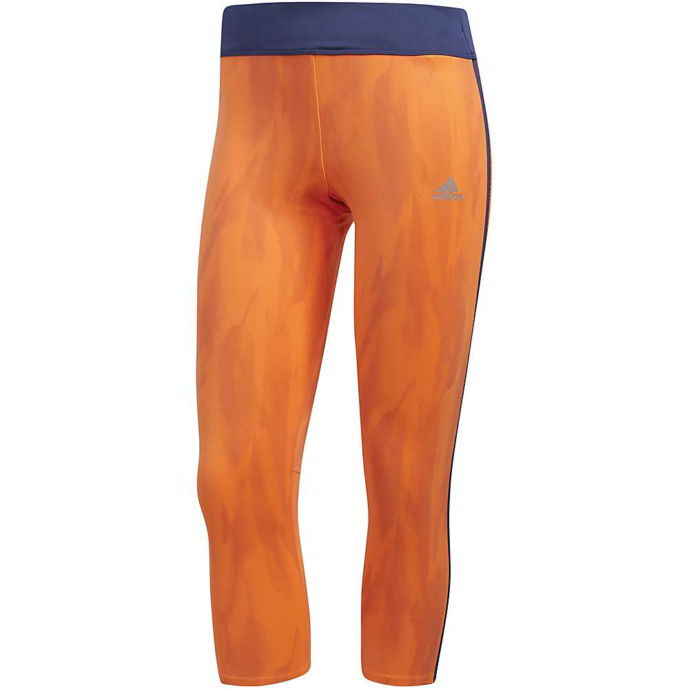 Adidas Women's Response 3/4 Tight - Large - Hi-Res Orange / Noble Indigo