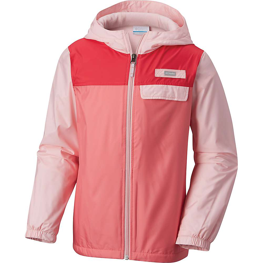 Columbia Youth Mountain Side Lined Windbreaker Jacket - Large - Cherry Blossom / Lollipop