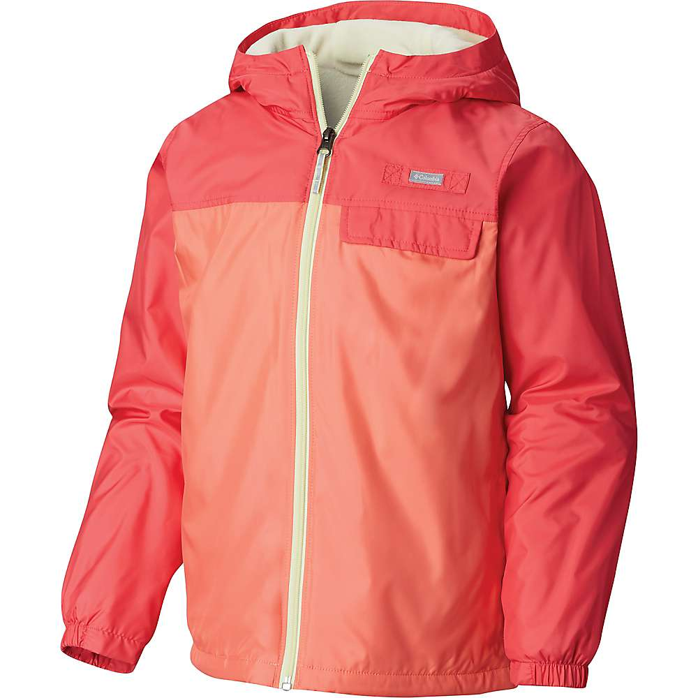 Columbia Youth Mountain Side Lined Windbreaker Jacket - Medium - Hot Coral / Bright Geranium